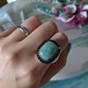 Sterling silver statement gem ring